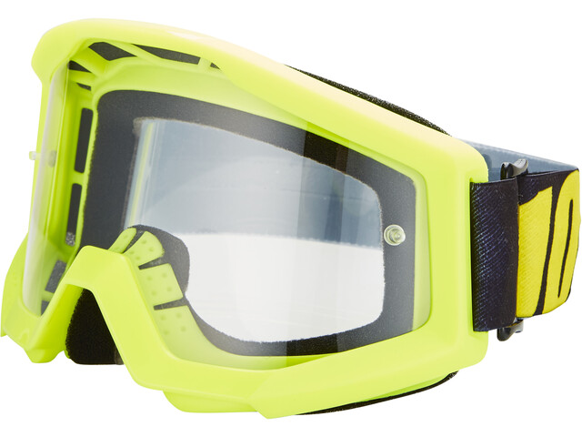 100% Strata Goggles neon yellow/anti fog clear